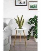 RRP £100 Boxed Umbra Sprout 3 Legged White And Natural Side Table With Planting Vessel 2.140 (
