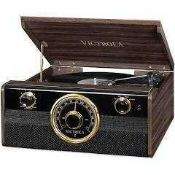 RRP £130 Boxed Victrola 4In1 Turntable With Bluetooth Connectivity Fm Radio With Analogue Tuner