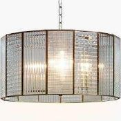 RRP £250 Boxed Rhea 3 Light Ceiling Light Clear Glass Shade Antique Brass Finish 306618 (