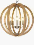 RRP £225 Boxed John Lewis Wooden Hars Ceiling Light 268163 (Appraisals Available On Request) (
