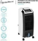 RRP £150 Boxed Jvw 4In1 Aircooler With 3 Air Flow Settings Digital Timer And Icepacks (117062) (