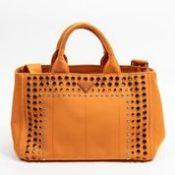 RRP £1,320 Prada Medium Bijoux Canapa Tote Shoulder Bag Papaya - AAR3528 - Grade AA - Please Contact