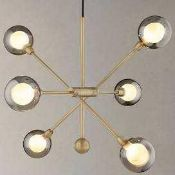 RRP £210 Boxed John Lewis And Partners Huxley 6 Light Smoked Glass Ceiling Light Fitting (Appraisals