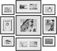 RRP £140 Boxed Gallery Perfect Hang Your Own Set Of 9 Wooden Picture Frames In Black (416588) (
