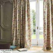 RRP £120 Bagged Pair Of Voyage Mason 66X72 Inch Ilinizing Floral Print Eyelet Headed Curtains (
