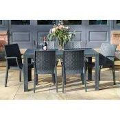 RRP £120 Boxed Set Of 3 Taupe Stacking Garden Dining Chairs (Appraisals Are Available On Request) (
