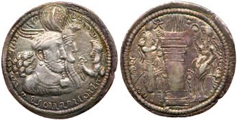 Sasanian Kingdom. Vahrãm (Bahram) II with Queen and Prince 4. Silver Drachm (3.96g), AD 276-293. VF