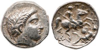 Paeonian Kingdom. Patraos. Silver Tetradrachm (12.89 g), 335-315 BC. EF