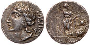Social War. Marsic Confederation. Silver Denarius (3.83 g), 90-88 BC