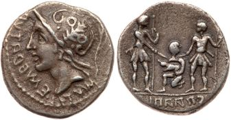 Social War. C. Paapius. Silver Denarius (3.65 g), 90 BC