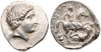 Paeonian Kingdom. Patraos. Silver Tetradrachm (13.00 g), 335-315 BC. EF