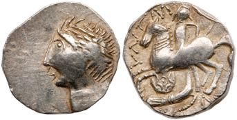 East Celts. Imitations of coins of Patraos. Silver Tetradrachm (11.57g), ca. 2nd Century BC. VF