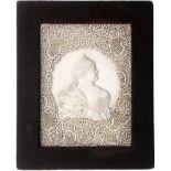 "Empress Anna. Rectangular walrus ivory plaque, 3 x 3 7/8"" (100 by 76 mm)."