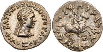 Indo-Greek Kingdom. Philoxenos. Silver Tetradrachm (9.69 g), ca. 100-95 BC. EF