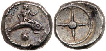 Calabria, Taras. Silver Nomos (8.13 g), ca. 480-470 BC. EF