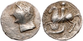 East Celts. Imitations of coins of Patraos. Silver Tetradrachm (10.96 g), ca. 2nd Century BC. VF