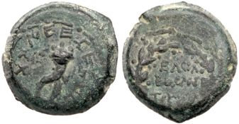 Mattatayah Antigonus (Mattatayah), 40-37 BCE, AE 4-Prutah (7.97 g). EF
