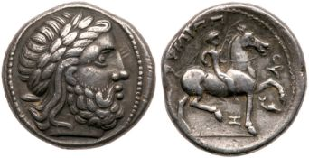 East Celts. Imitation of coins of Philip II. Silver Tetradrachm (12.68 g), ca. Early Issue