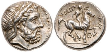 Macedonian Kingdom. Phillip II. Silver Tetradrachm (14.36 g), 359-336 BC. EF