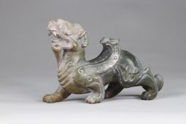 China A ferocious beast representing a couple with dragon and Phoenix archaic work