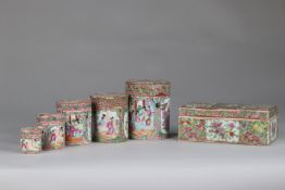 China set of 6 Canton porcelain pots