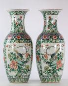 China pair of famille verte porcelain vase 19th bird decor
