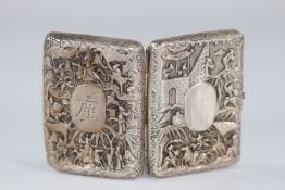 China silver box decorated with characters circa 1900