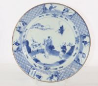 China porcelain plate blanc-bleu 18th decor of characters and deer