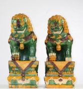 China pair of enamelled stoneware dog