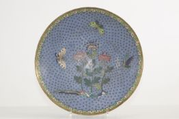 China cloisonne plate decorated with flowers and butterflies republic period