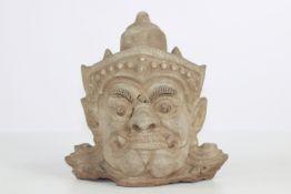 Ceramic head of guardian Yaksha - Sawan Khalok -17th century - Thailand