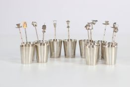 China set of hallmarked sterling silver cups and spoons