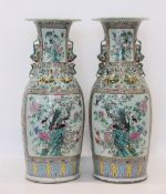 China large pair of rich famille rose vases decorated with trendy birds 19th (91cm)