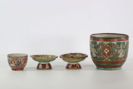 China 2 vases and 2 Tazzas in Chinese Bencharong type porcelain for the thai market,