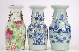 Lot of three porcelain vase two blanc-bleu and one in qianjiang enamel. China circa 1900.