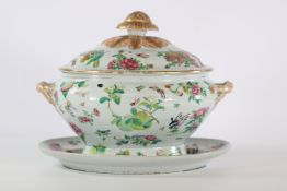 China covered terrine with rich dish decorated with flowers and insects 18th C.