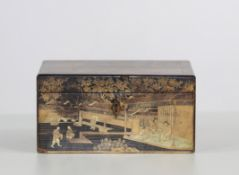 Chinese lacquer and gold box, 19th century China