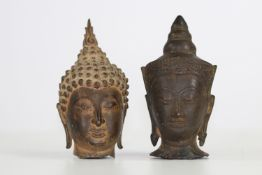 Thailand lot of 2 bronze heads 18 / 19th