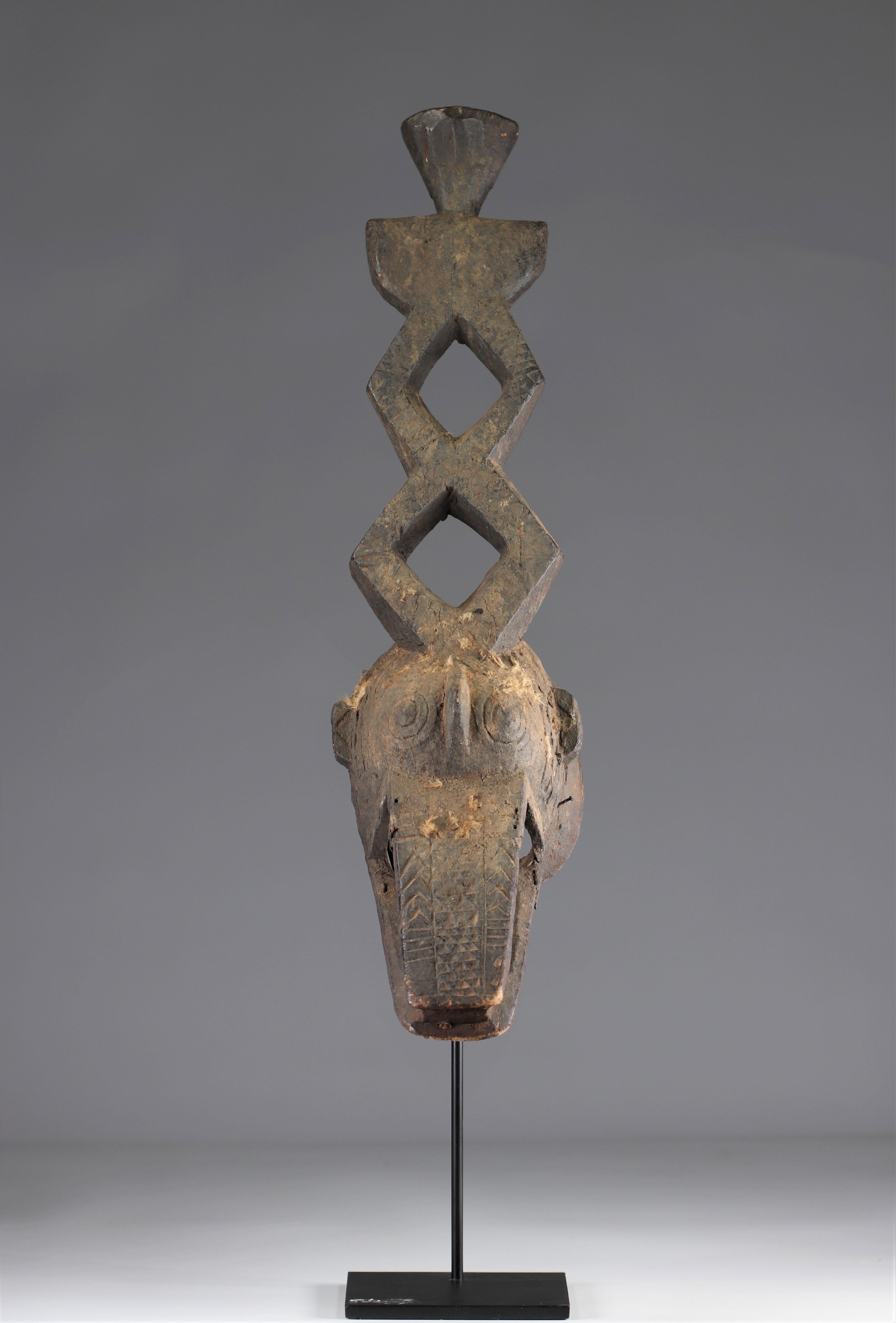 Ko Mask - Very old Ko caiman mask (Burkina Faso). Early 20th century. Very old black sacrificial pat - Image 2 of 5