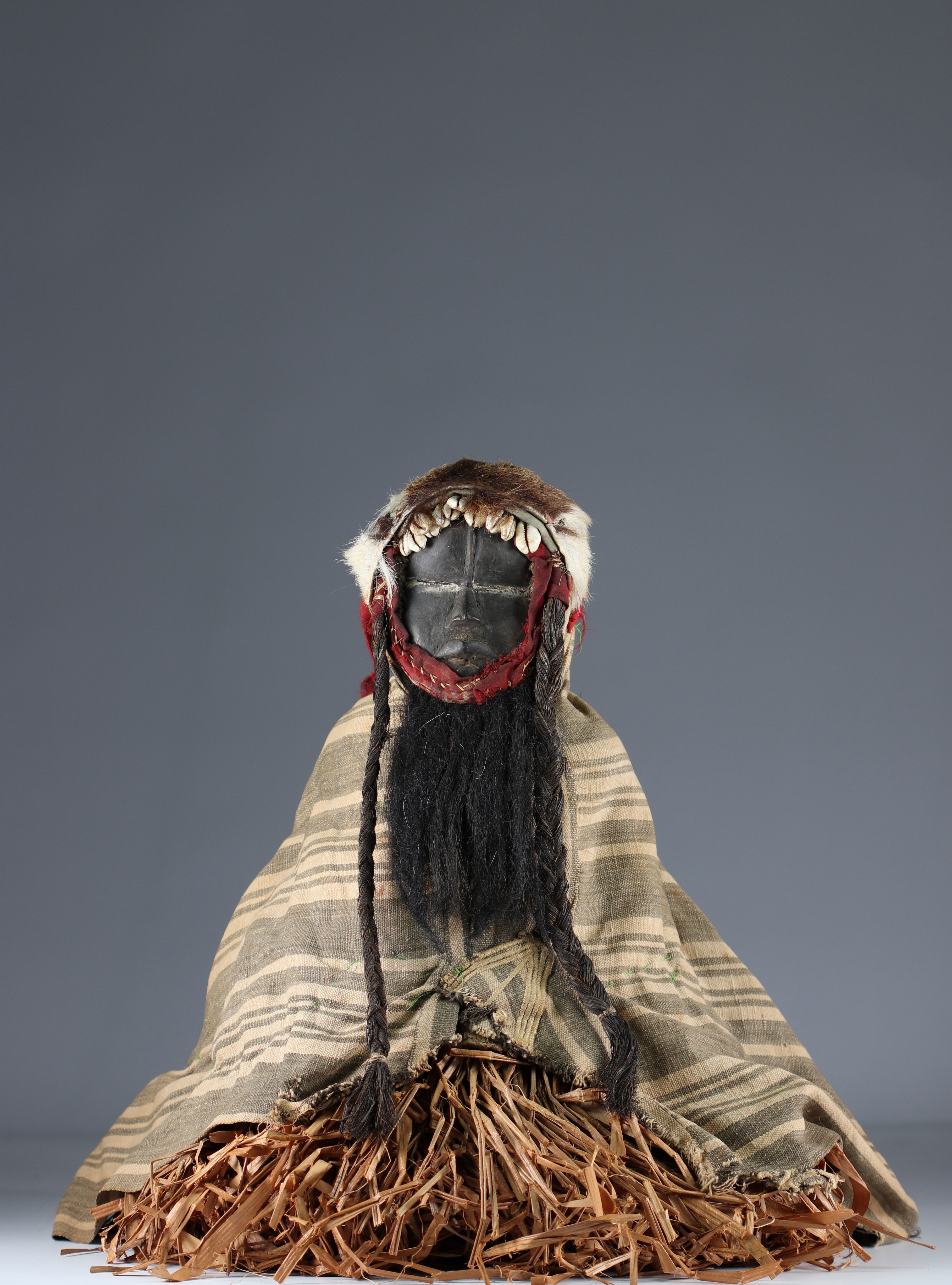 Rare fetish protector of fields with costume.- Dan- Ivory Coast- Mid 20th century. Ex Budrose coll.