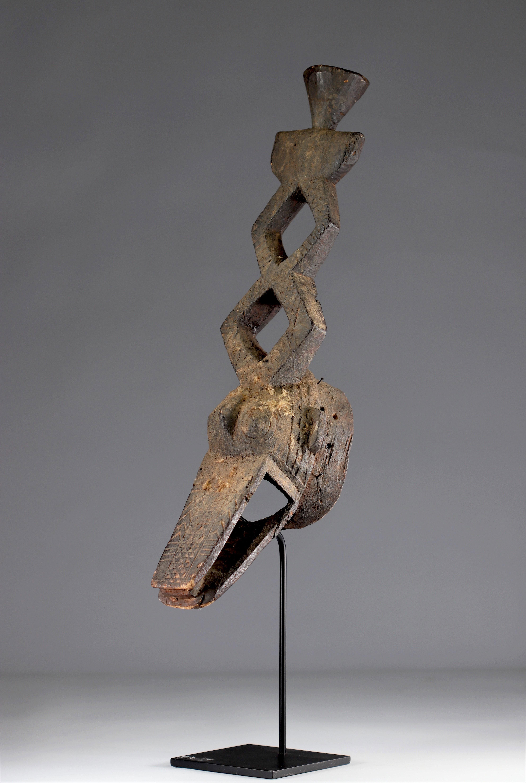 Ko Mask - Very old Ko caiman mask (Burkina Faso). Early 20th century. Very old black sacrificial pat