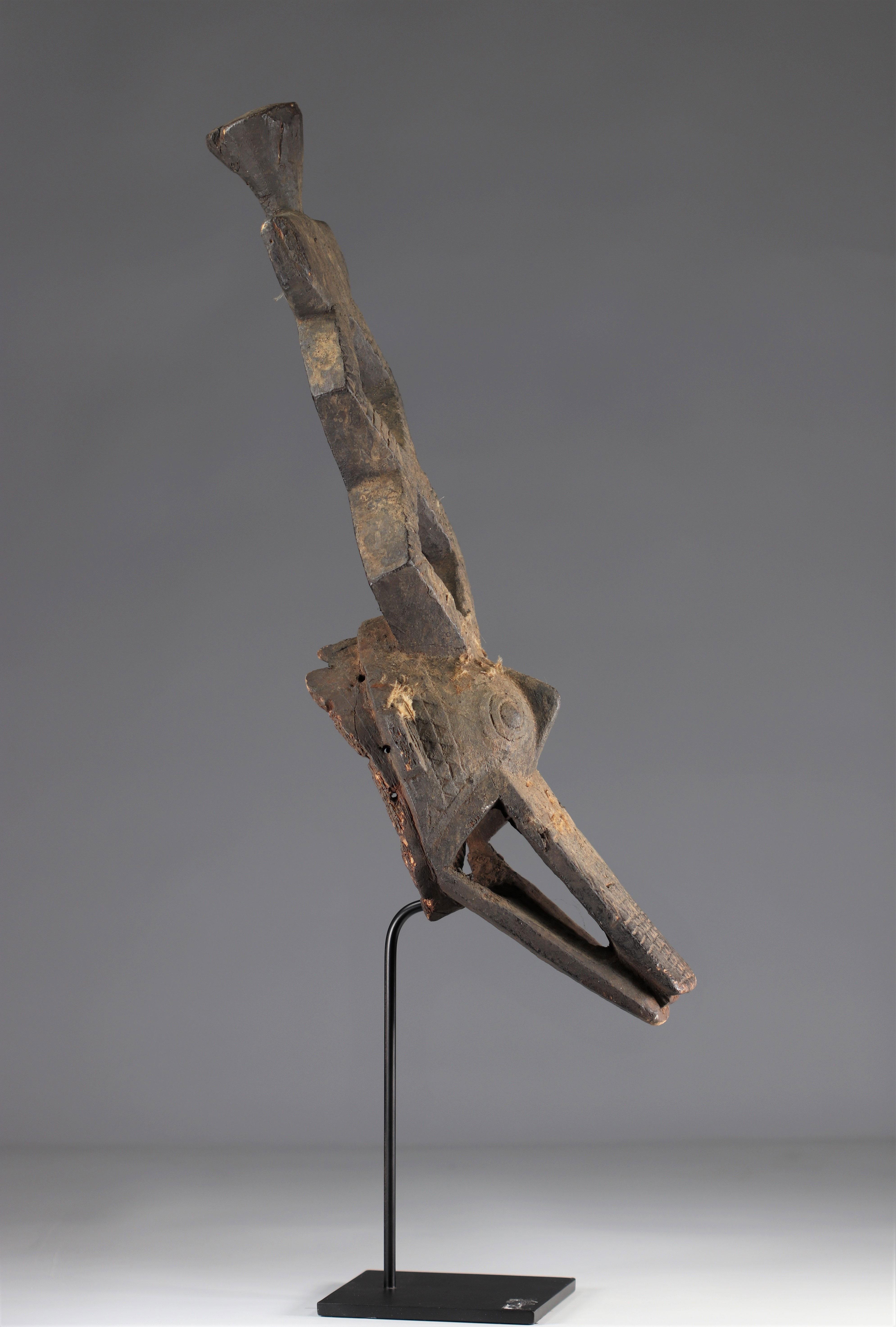 Ko Mask - Very old Ko caiman mask (Burkina Faso). Early 20th century. Very old black sacrificial pat - Image 4 of 5