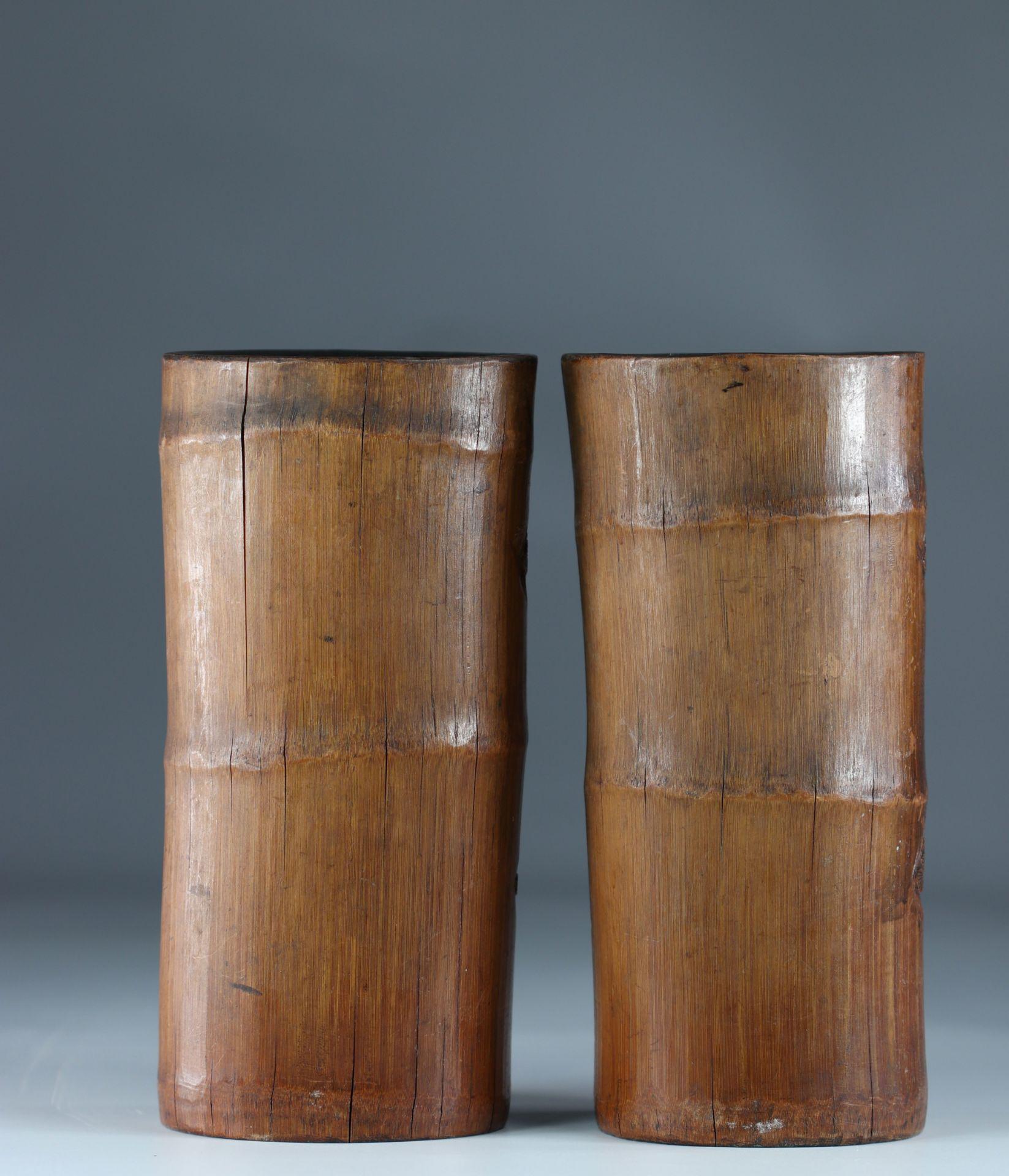 China bamboo brush holders circa 1900 - Image 3 of 3