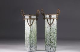 Pair of Art Nouveau vases in the style of Loetz circa 1900