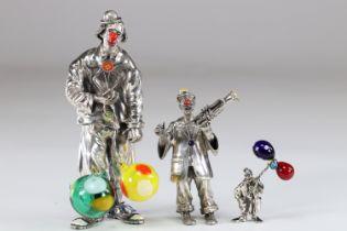 Italian clown (3) in silver and Murano glass monkey Ancini