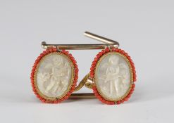 """Rare Louis XV mother-of-pearl and coral buttons """"engraved with cherubs""""."""