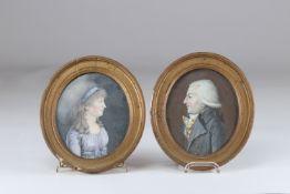 Pair of Louis XVI period portraits
