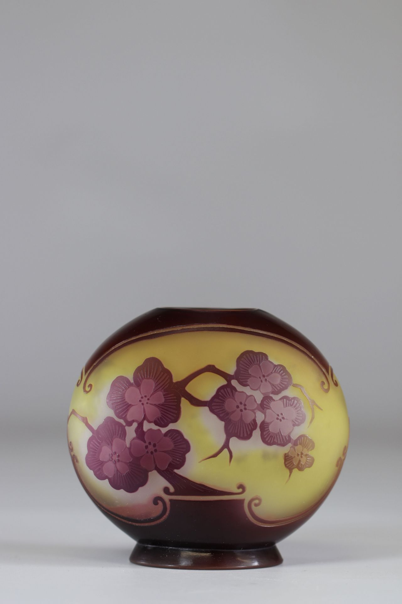 """Emile Galle Vase cleared with acid """"with apple blossoms"""""""