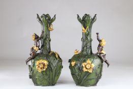 Pair of Art Nouveau vases with floral decoration and cherubs