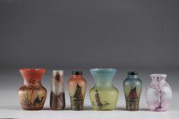 Lot of 6 enamelled glass vases circa 1930